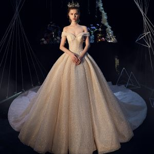 Luxury / Gorgeous Champagne Glitter Wedding Dresses 2019 Ball Gown Off-The-Shoulder Short Sleeve Backless Beading Pearl Cathedral Train Ruffle