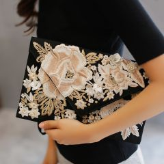 Modern / Fashion Black Embroidered Flower Clutch Bags 2019