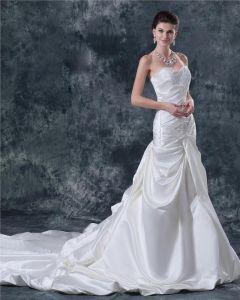 Satin Beading Alskling Domkyrka A-line Brudklänningar Bröllopsklänningar