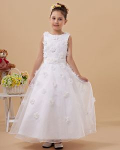 Satin Organza Handmade Flower Embellishment Girl Dresses
