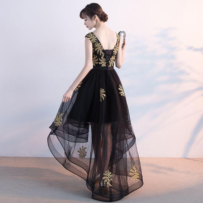 Chic / Belle Cocktail Robe De Ceremonie 2017 Robe De Cocktail Noir Princesse Asymétrique Ceinture Encolure Dégagée Dos Nu Sans Manches Doré Appliques Fleur