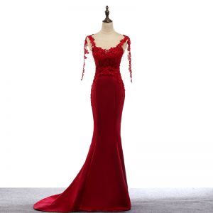 Modern / Fashion Red Evening Dresses  2017 Scoop Neck Appliques 3/4 Sleeve Trumpet / Mermaid Lace Formal Dresses