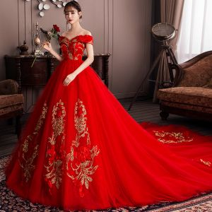 Chic / Beautiful Red Wedding Dresses 2019 A-Line / Princess Off-The-Shoulder Sequins Lace Flower Short Sleeve Backless Cathedral Train