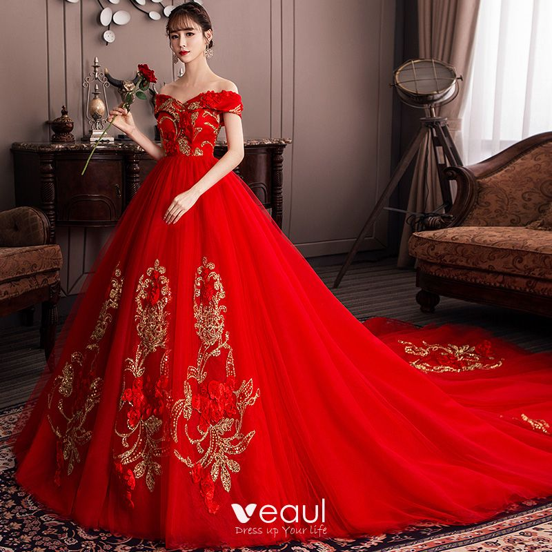 Chic / Beautiful Red Wedding Dresses 2019 A-Line
