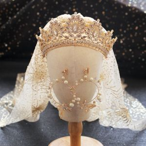 Luxury / Gorgeous Gold Tiara Earrings Wedding Veils Bridal Jewelry 2019 Metal Pearl Rhinestone Wedding Accessories