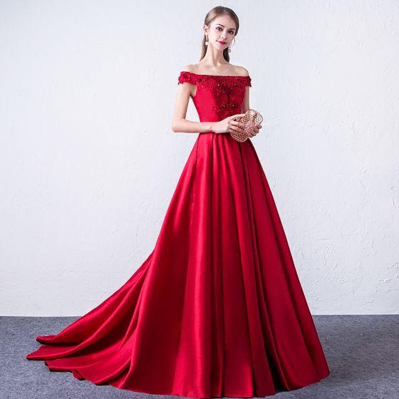 Hermoso Borgoña Vestidos de noche 2018 A-Line / Princess Con Encaje Apliques Rebordear Lentejuelas Fuera Del Hombro Sin Espalda Sin Mangas Colas De Barrido Vestidos Formales