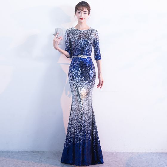 Sparkly Silver Royal Blue Sequins Evening Dresses  2017 Trumpet / Mermaid Scoop Neck 3/4 Sleeve Metal Sash Floor-Length / Long Starry Sky Formal Dresses
