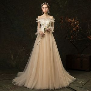 Affordable Champagne Outdoor / Garden Wedding Dresses 2019 A-Line / Princess Off-The-Shoulder Puffy Long Sleeve Backless Appliques Flower Beading Sweep Train Ruffle
