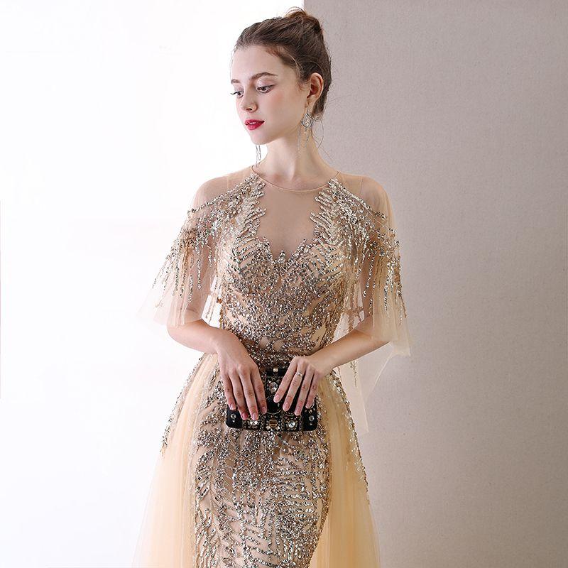 High-end Champagne Evening Dresses  2020 Trumpet / Mermaid Scoop Neck Beading Sequins Short Sleeve Sweep Train Formal Dresses