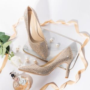 Charming Gold Wedding Shoes 2019 Leather Rhinestone 8 cm Stiletto Heels Pointed Toe Wedding Pumps