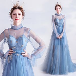Vintage / Retro Sky Blue Evening Dresses  2020 A-Line / Princess High Neck Appliques Crystal Lace Flower Rhinestone Sequins Long Sleeve Backless Sweep Train Formal Dresses