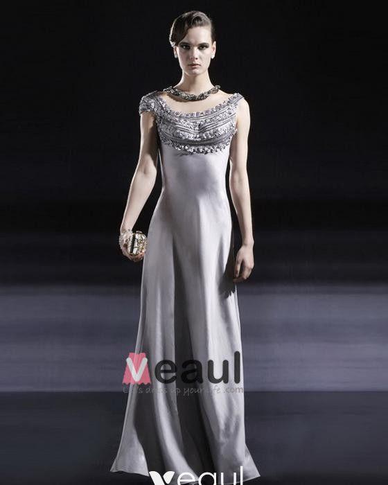 Charmeuse Elastic Beading Round Neck Floor Length Evening Dresses