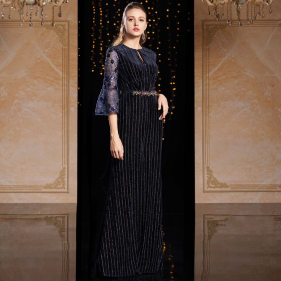 High-end Navy Blue Evening Dresses  2021 Sheath / Fit Scoop Neck 3/4 Sleeve Bell sleeves Appliques Lace Beading Sequins Split Front Floor-Length / Long Ruffle Formal Dresses
