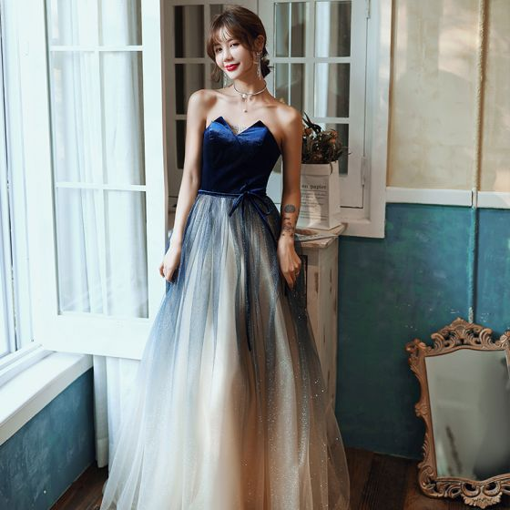 Charmerende Mørk Marineblå Selskabskjoler 2020 Prinsesse Stropløs Sløjfe Glitter Ærmeløs Halterneck Lange Kjoler