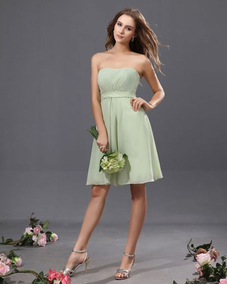 A-Line Strapless Knee Length Chiffon Satin Bridesmaid Dress