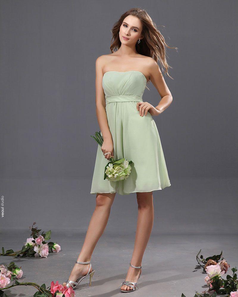 A-Line Strapless Knee Length Chiffon Satin Bridesmaid Dress
