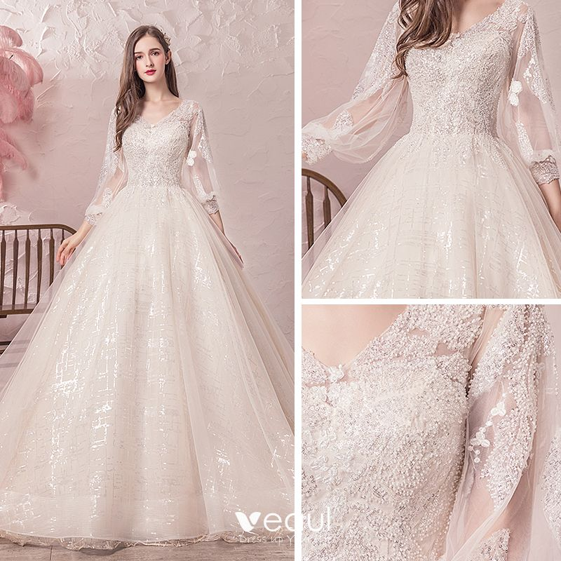 Bling Bling Champagne Wedding Dresses 2019 A-Line / Princess V-Neck See-through Puffy 3/4 Sleeve Backless Sequins Beading Glitter Tulle Chapel Train Ruffle
