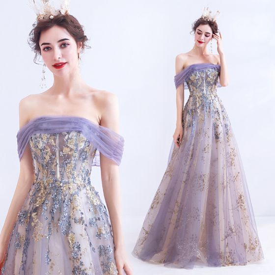 Charming Purple Prom Dresses 2020 A-Line / Princess Off-The-Shoulder Lace Flower Glitter Sequins Sleeveless Backless Floor-Length / Long Formal Dresses