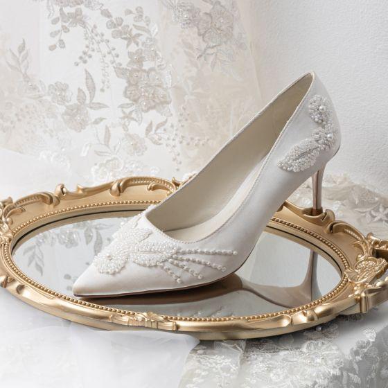 Elegantes Blanco Perla Satén Zapatos de novia 2021 Cuero 7 cm Stilettos / Tacones De Aguja Punta Estrecha Boda Tacones High Heels