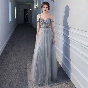 Luxe Gris Transparentes Robe De Soirée 2020 Princesse Bretelles Spaghetti Manches Courtes Faux Diamant Perlage Longue Volants Dos Nu Robe De Ceremonie