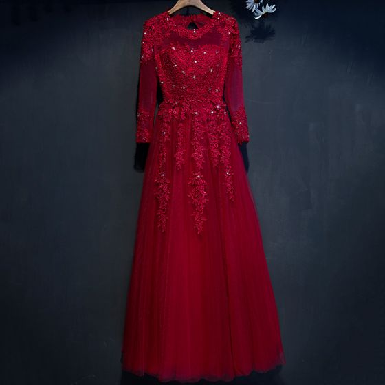 Chic / Beautiful Red Formal Dresses 2017 A-Line / Princess Lace Flower Beading Crystal Scoop Neck Long Sleeve Floor-Length / Long Evening Dresses