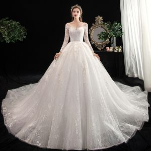 Chic / Beautiful Ivory Wedding Dresses 2020 Ball Gown V-Neck Pierced Long Sleeve Backless Appliques Lace Cathedral Train Ruffle