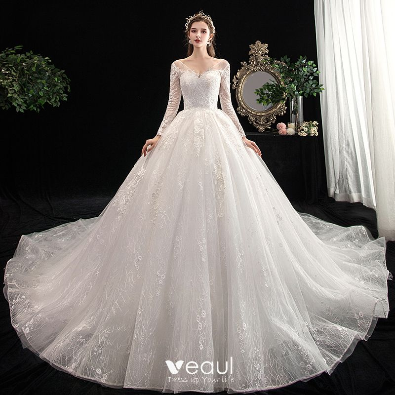 Beautiful Wedding Ball Gowns: Chic / Beautiful Ivory Wedding Dresses 2020 Ball Gown V