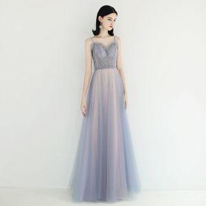 Elegante Himmelblau Pearl Rosa Abendkleider 2019 A Linie Spaghettiträger Ärmellos Pailletten Perlenstickerei Lange Rüschen Rückenfreies Festliche Kleider