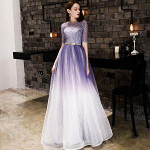 Modern / Fashion Gradient-Color Evening Dresses  2019 A-Line / Princess Beading Sequins Metal Sash Scoop Neck Short Sleeve Backless Floor-Length / Long Formal Dresses