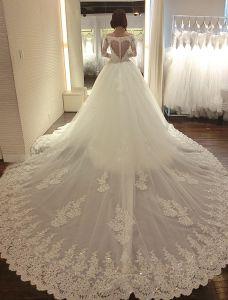 Luksus Brudekjole 2016 V-hals Blonder Paljetter Cardioid Ryggløse Bryllupskjoler Med Langt Følgende