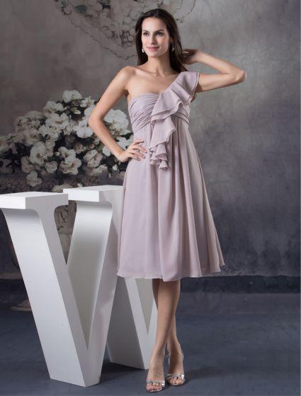 2015 Unique Empire Ruffle One Shoulder Pleated Short Bridesmaid Dresses