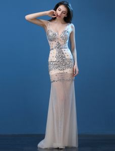 Sparkly Sexy Evening Dresses 2016 Mermaid Deep V-neck Sleeveless Beading Crystal Rhinestones Dress