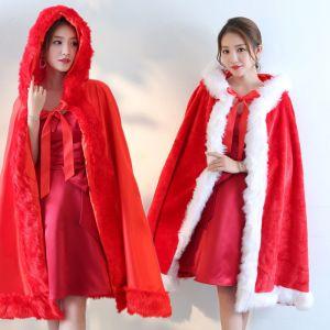 Único Rojo manto Abrigos / chaquetas De Tiras Poliéster Bailando Noche Accesorios 2019