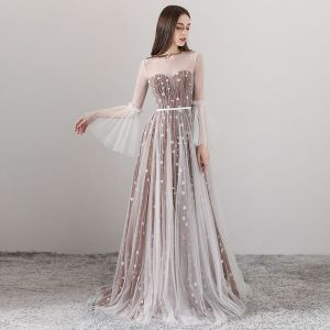 Elegant Brown See-through Evening Dresses  2018 A-Line / Princess Scoop Neck Long Sleeve Appliques Flower Sash Floor-Length / Long Ruffle Backless Formal Dresses