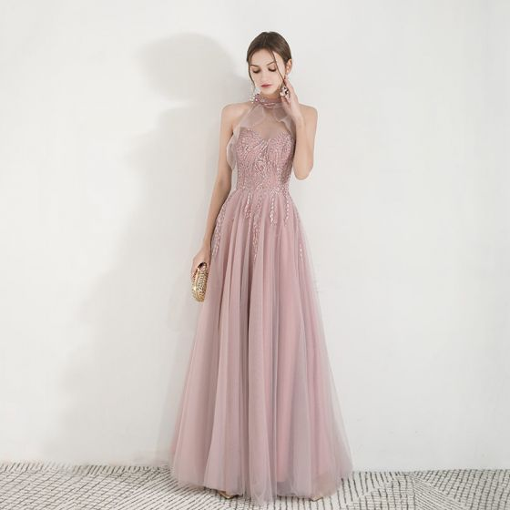 Elegant Pearl Pink See-through Evening Dresses  2019 A-Line / Princess High Neck Sleeveless Appliques Lace Beading Floor-Length / Long Ruffle Backless Formal Dresses