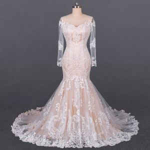 Luxury / Gorgeous Champagne See-through Bridal Wedding Dresses 2020 Trumpet / Mermaid Scoop Neck Long Sleeve Backless Appliques Lace Court Train Ruffle