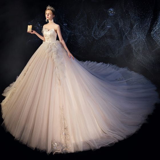 Best Champagne Wedding Dresses 2019 Ball Gown Sweetheart Sleeveless Backless Feather Appliques Sequins Glitter Tulle Cathedral Train Ruffle