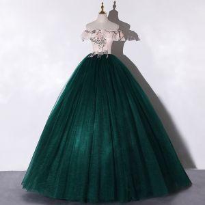 Chic / Belle Vert Foncé Dansant Robe De Bal 2020 Robe Boule De l'épaule Manches Courtes Appliques En Dentelle Fleur Paillettes Perlage Perle Longue Volants Dos Nu Robe De Ceremonie