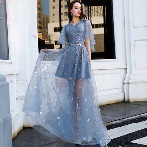 Abordable Bleu Ciel Robe De Soirée 2019 Princesse V-Cou Manches Courtes Appliques En Dentelle Métal Ceinture Longue Volants Dos Nu Robe De Ceremonie