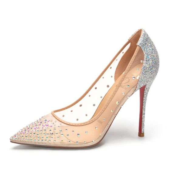 Charming Silver Evening Party Rhinestone Pumps 2020 Sequins 10 cm Stiletto Heels Pointed Toe Pumps