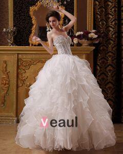 Organza Perles Broderie Sweetheart Longueur Robes De Mariage De Robe