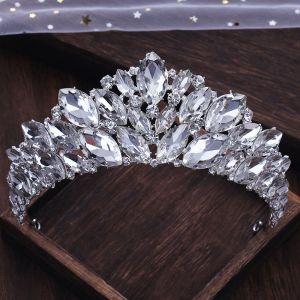 Luxe Zilveren Rhinestone Tiara Huwelijk Accessoires 2019 Bruids Haaraccessoires