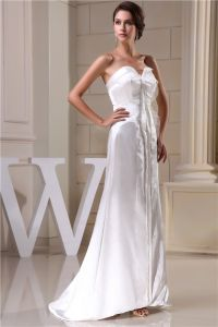 2015 Einzigartige A-linie Schatz Sweep Zug Hochzeitskleid Einfache Brautkleid