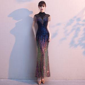 Glitzernden Multifarben Abendkleider 2020 Meerjungfrau Durchsichtige Stehkragen Ärmellos Applikationen Spitze Perlenstickerei Strass Quaste Lange Festliche Kleider