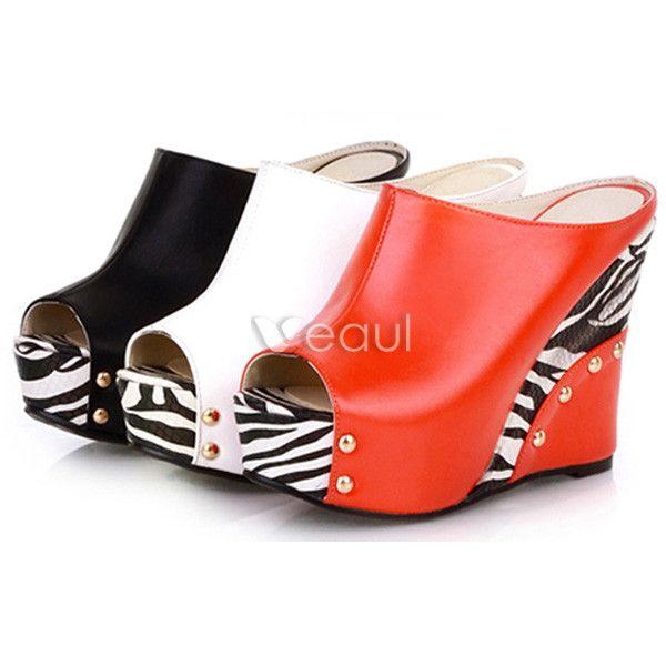 Fashion Womens Sandals Platform 4 Inch High Heeled Wedges Slipper Peep Toe