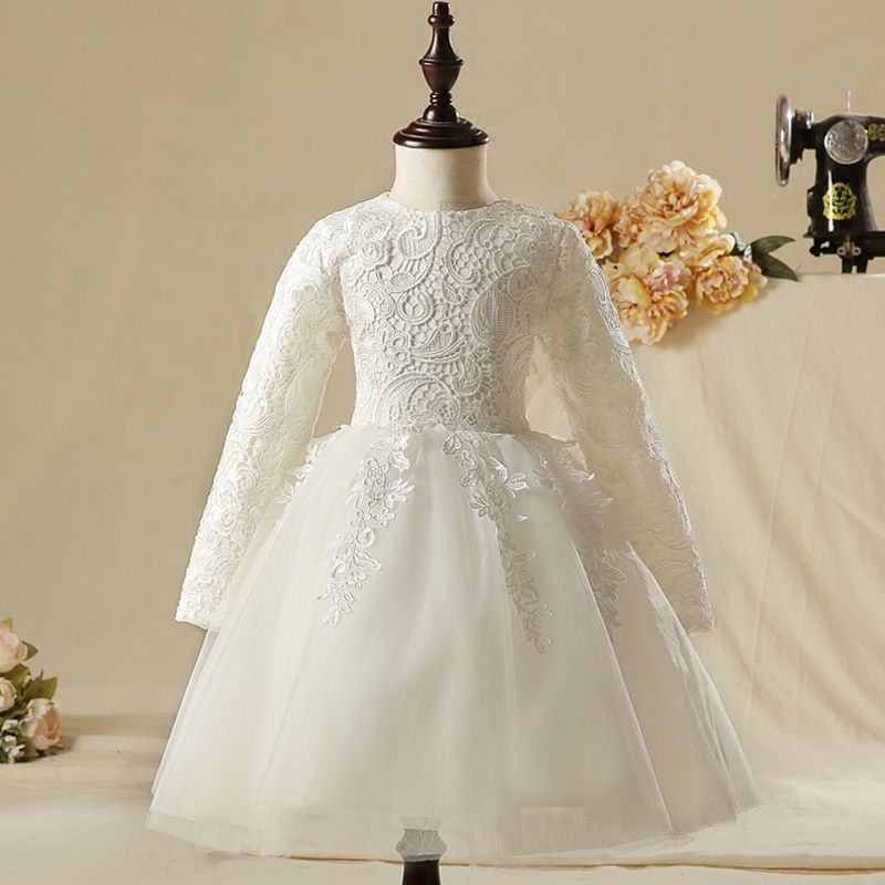 Modest / Simple Church Wedding Party Dresses 2017 Flower Girl Dresses White Knee-Length Ball Gown Scoop Neck Long Sleeve Lace Appliques