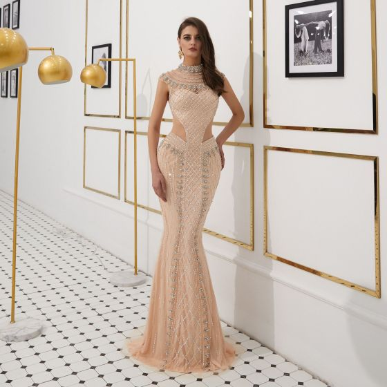 High-end See-through Gold Evening Dresses  2020 Trumpet / Mermaid High Neck Sleeveless Handmade  Beading Sweep Train Formal Dresses