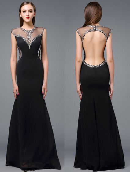 Beautiful Evening Dress 2016 Mermaid Scoop Neckline Beading Crystals Rhinestone Backless Long Dress