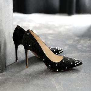 Charming Black Evening Party Pumps 2019 Sequins Rivet 10 cm Stiletto Heels Pointed Toe Pumps