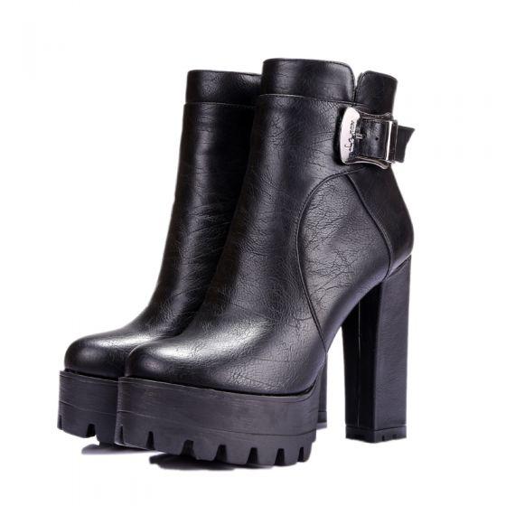 Mode Sorte Streetwear Støvletter / Ankelstøvler Støvler Dame 2021 12 cm Tykke Hæle Vandtætte Runde Tå Støvler
